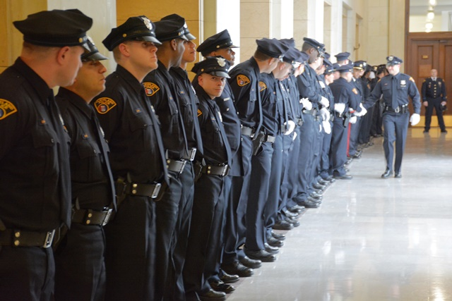 A new class of police officers lines up in Cleveland City Hall in 2015. (Nick Castele/ideastream)