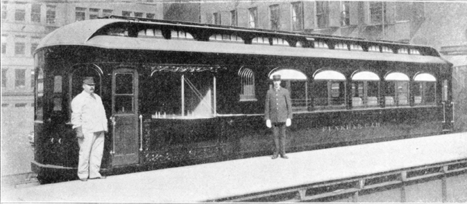 This was once a normal passenger car. The railroad company added a special door for the corpse, painted the outside black, and BAM! Funeral car. (Courtesy of Bruce Moffat, from his book, 'The 'L.'')