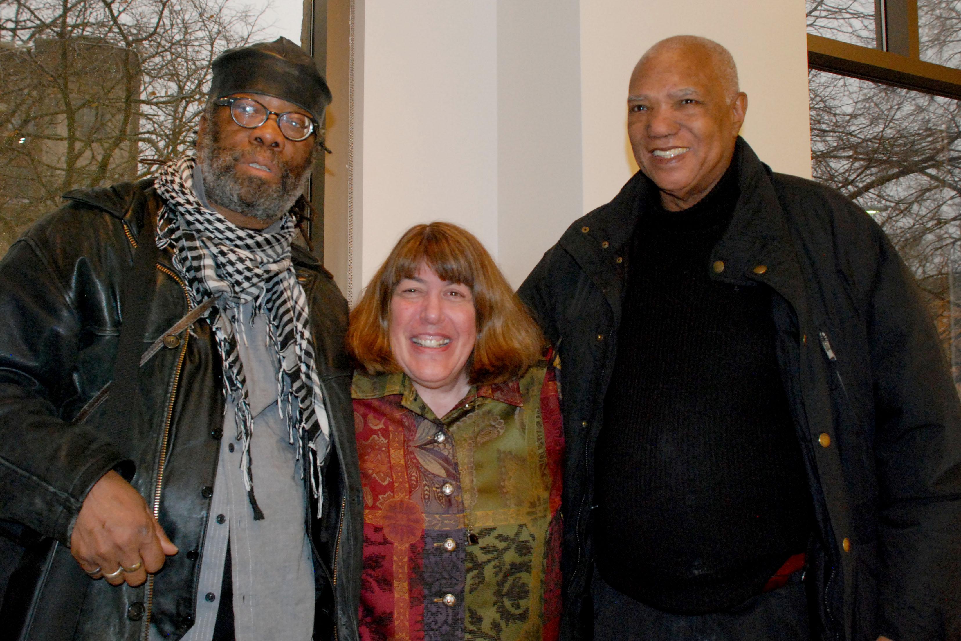 George Bailey, photographer Nancy Ortenberg and blues poet Sterling Plump (Oak Park Public Library).