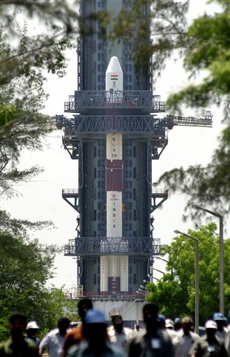 This 2005 photo shows India's Polar Satellite Launch Vehicle on a launch pad of the Indian Space Research Organization at Sriharikota, about 110 kilometers northeast of Madras, India. (AP/M. Lakshman)