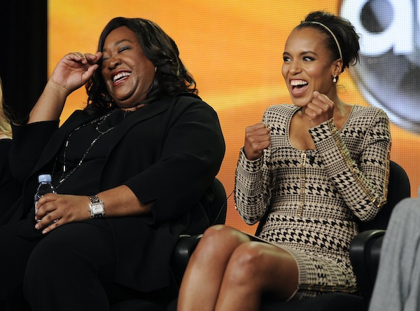 Showrunner and producer Shonda Rhimes (left) with 'Scandal' star Kerry Washington. (AP/Chris Pizzello)