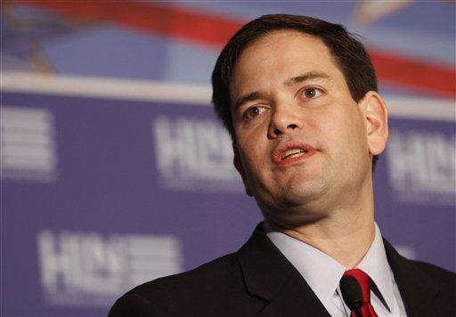 Florida U.S. Sen. Marco Rubio talks to guests during the Hispanic Leadership Network in January. (AP/Alan Diaz, file)