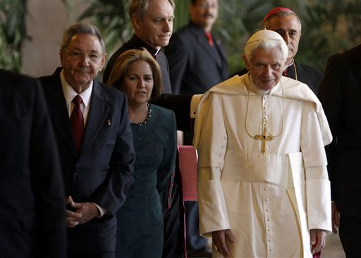 Cuba's President Raul Castro stands next to Pope Benedict XVI in Havana, Cuba last week. (AP/Ismael Francisco, Cubadebate)