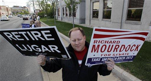 Brent Gentry shows his support for Richard Mourdock before a U.S. Senate debate in April. Mourdock is running against Sen. Richard Lugar, R-Ind. (AP/Darron Cummings)