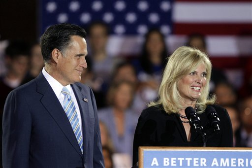 The Romney's at an election night rally in New Hampshire. (AP/Jae C. Hong)