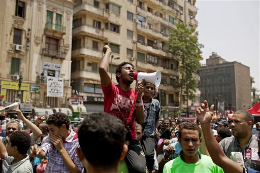 Egyptians gather to protest military rule in Tahrir Square in Cairo, Egypt on Friday. (AP/Pete Muller)