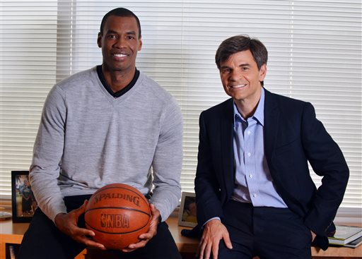 NBA basketball veteran Jason Collins, left, poses for a photo with television journalist George Stephanopoulos, Monday, April 29, 2013, in Los Angeles. (AP/ABC)