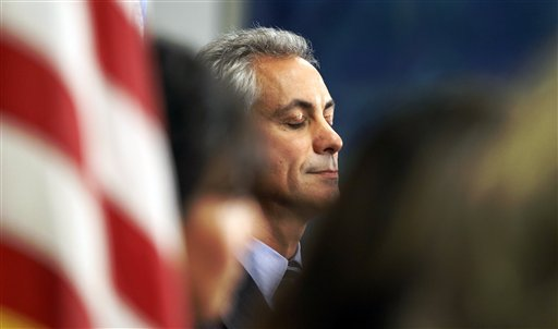 A moment of reflection for Mayor Rahm Emanuel (AP Photo/Charles Rex Arbogast)