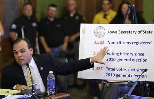 Iowa Secretary of State Matt Schultz explains his theory of illegal registrants on the state voter rolls. (AP)
