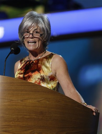 Alice Germond, secretary of Democratic National Committee, runs a roll call rehearsal at the Democratic National Convention in Charlotte, N.C. (AP)