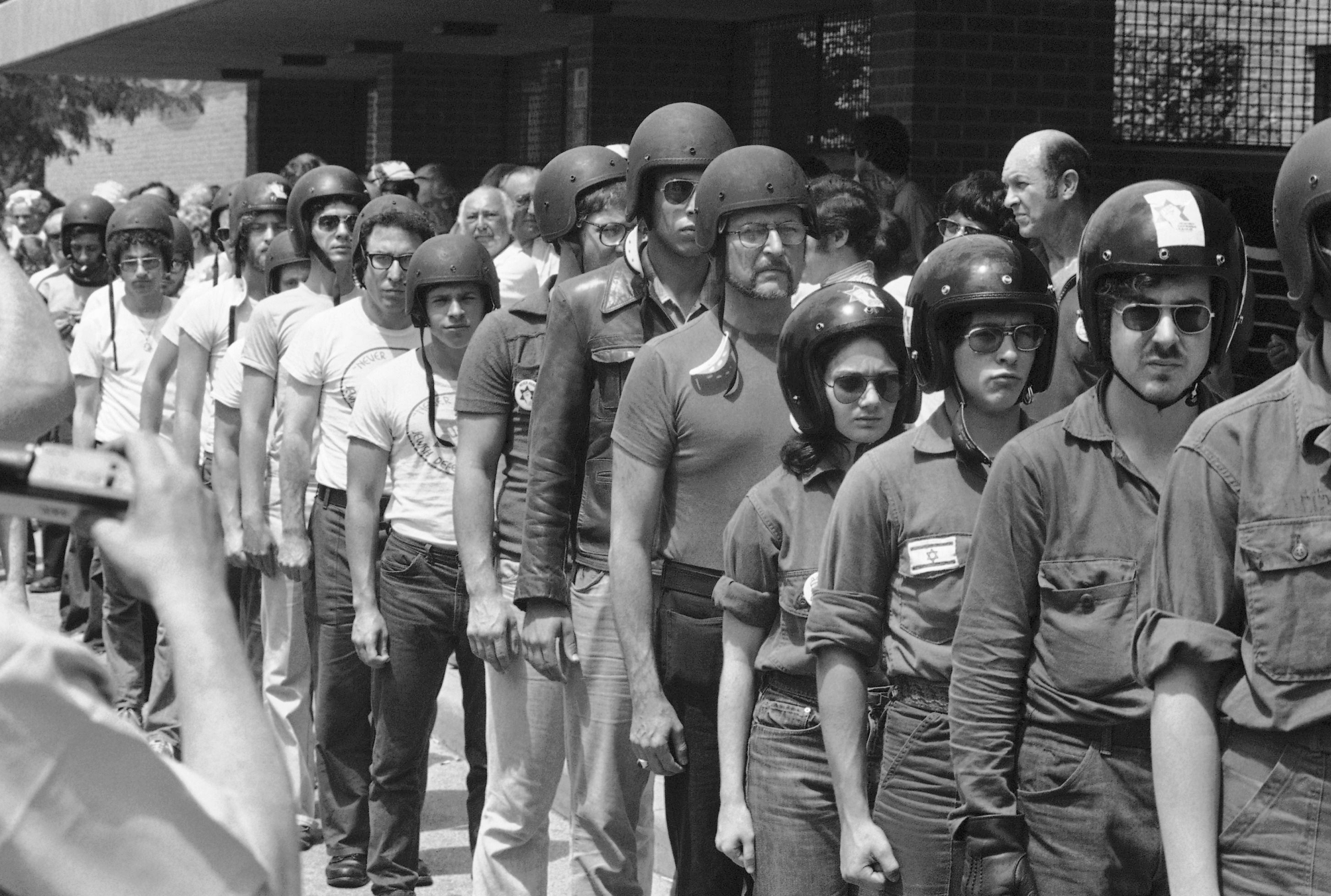 Members of the Jewish Defense League donned helmets as they arrived in Skokie, Ill. on July 4, 1977 to demonstrate against the Nazis, who called off their march when they failed to get a permit. (AP/CEK)