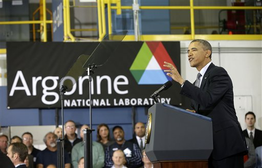 President Barack Obama gestures while speaking at Argonne National Laboratory in Argonne, Ill., Friday, March 15, 2013. Obama traveled to the Chicago area to deliver a speech to promote his energy policies. (AP)