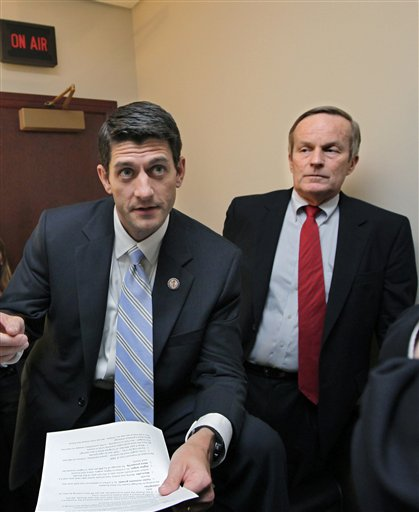 GOP VP candidate Paul Ryan and Missouri Rep. Todd Akin co-sponsored at least two extremist bills on women's health issues. (AP/file)