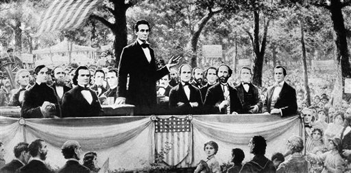 Abraham Lincoln at his debate with Stephen A. Douglas, 1860, in Illinois. (AP PhotoBrown Bros.)