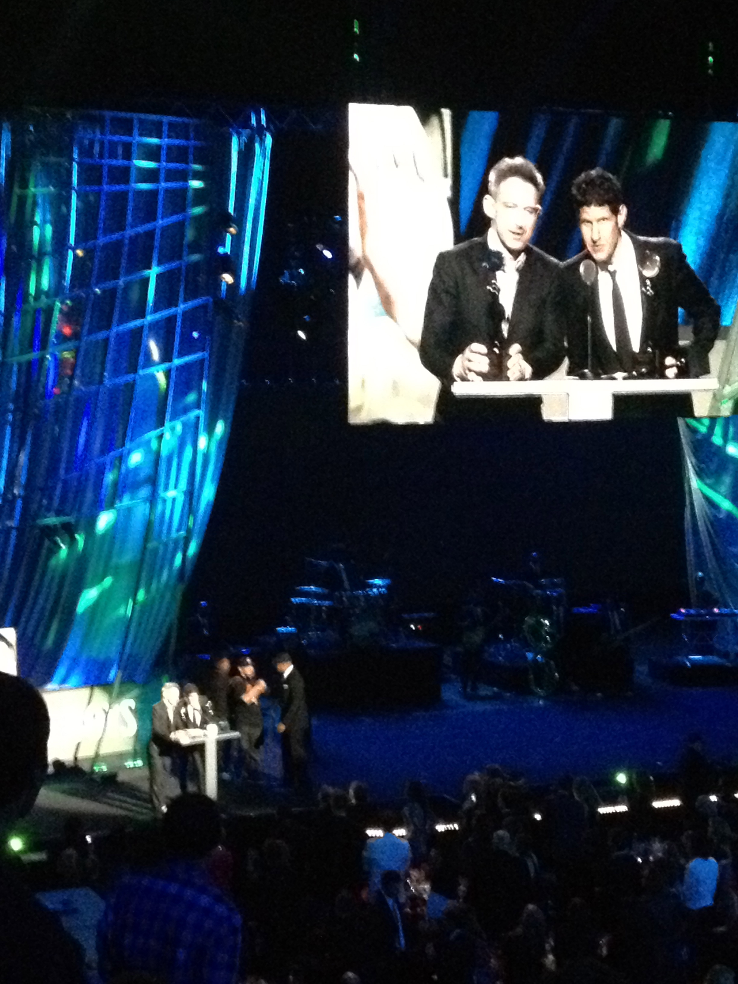 A fan's view of the induction ceremony at the Rock and Roll Hall of Fame. (Photo by Dave Rothkopf)