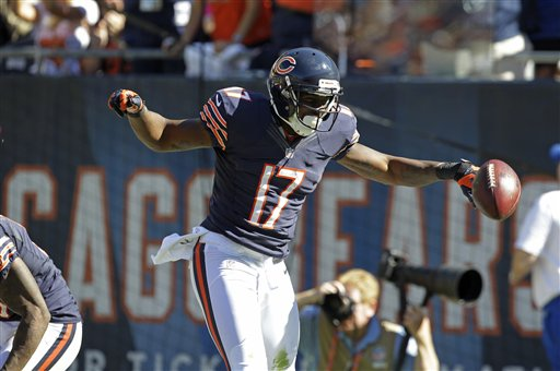 Alshon Jeffery enjoys his first NFL touchdown. (AP Photo/Sitthixay Ditthavong)