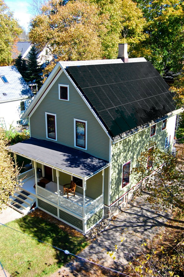 The Grocoff's of Ann Arbor, Michigan claim to own the country's oldest net-zero energy home. (WBEZ/Zak Rosen)