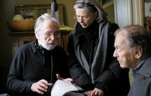 Director Michael Haneke, left, directs Emmanuelle Riva and Jean-Louis Trintignant on the set of 'Amour,' a film about an aging couple facing physical decline. (Sony Pictures Classics/Denis Manin)
