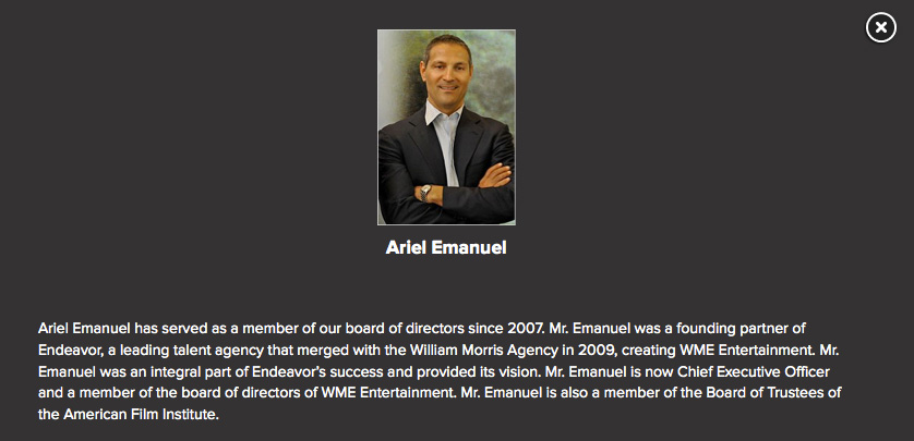 Ari Emmanuel's bio from the Live Nation Website listing its board of directors.