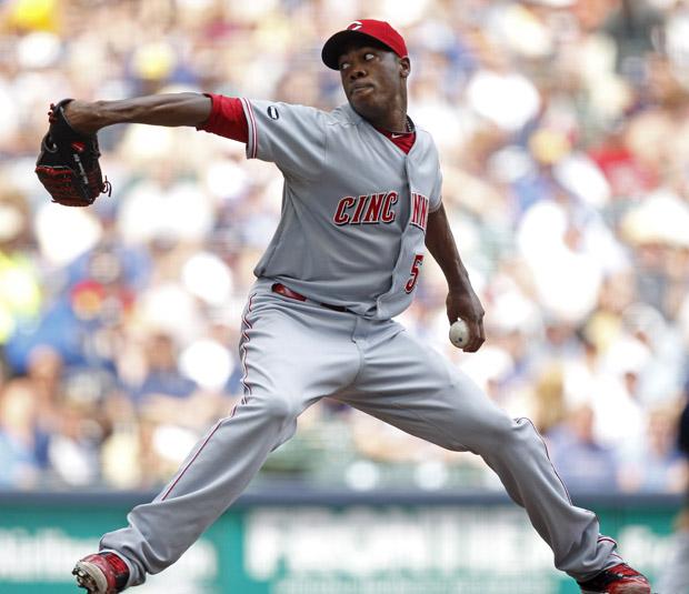 Cincinnati Reds reliever Aroldis Chapman throws against the Milwaukee Brewers in 2011. (AP/Jeffrey Phelps)