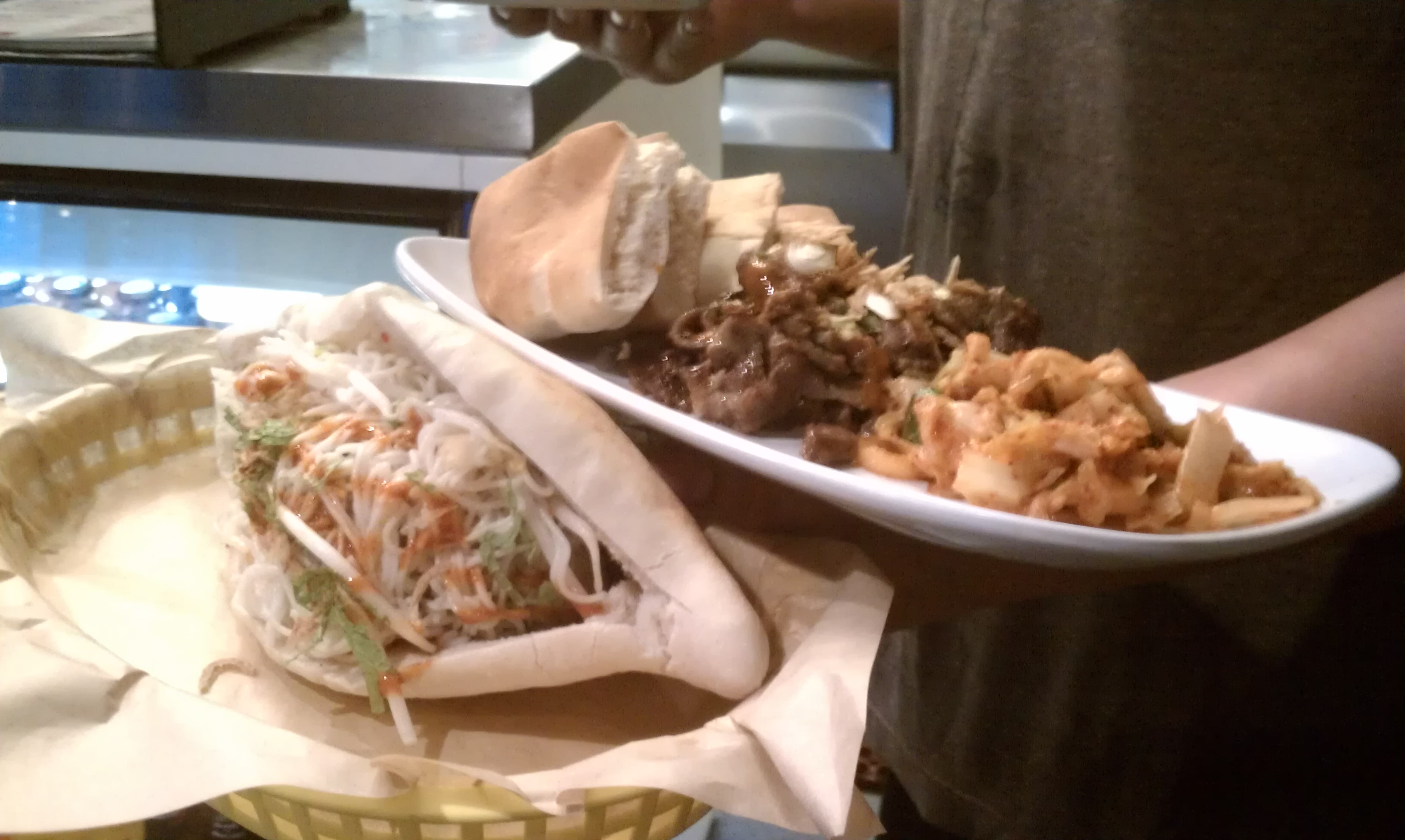 Asian meatball and Kogi beef platter at Belly Shack. (WBEZ/Niala Boodhoo)