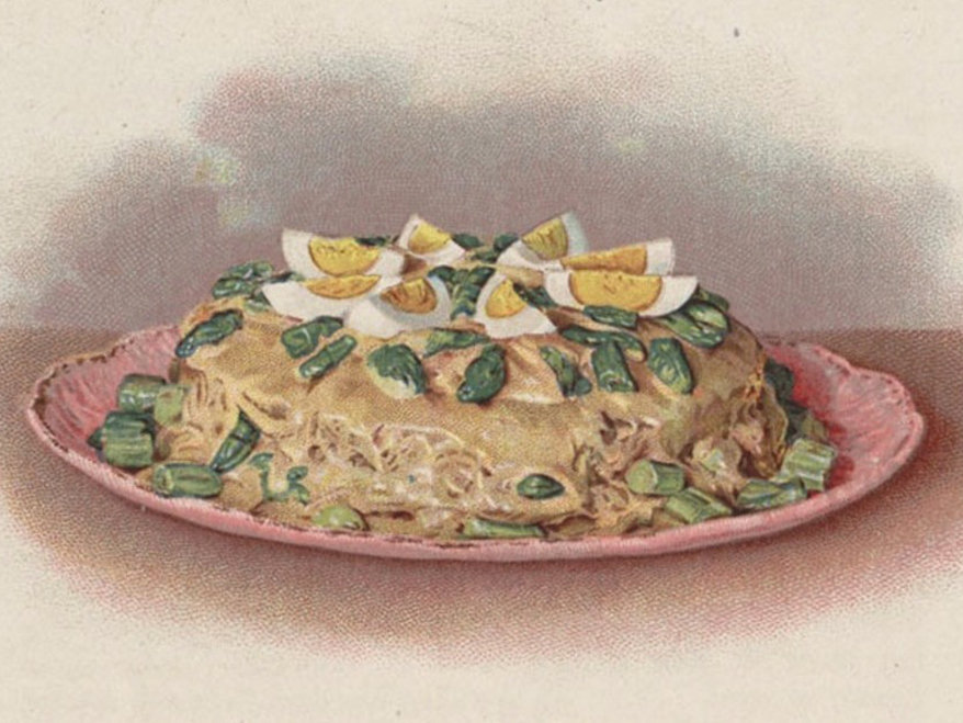 """Asparagus Shortcake,"" a leftover creation from The Cook's Book published in 1908. (Special Collections/Michigan State University Libraries)"