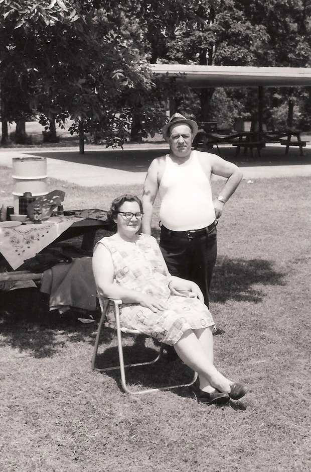 John Guzlowski's parents circa 1975, probably at the Caldwell Woods forest preserve. (Photo courtesy John Guzlowski)