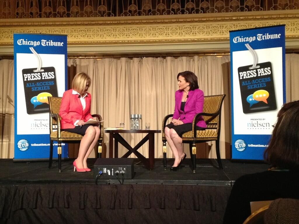 'Success and likability is positively correlated for men, negatively correlated for women,' said Facebook's Sheryl Sandberg, right, during an event at Chicago's Palmer House Hilton Thursday night. (Tuesday Hagiwara)