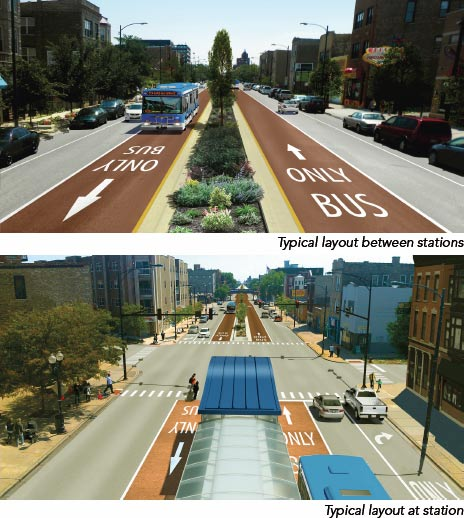 The BRT design favored by top Chicago staffers would preserve parking on both sides of Ashland Avenue but eliminate a traffic lane on each side. (Courtesy of Chicago Transit Authority)