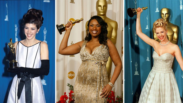 As legend has it, women's film careers are 'cursed' by winning the best supporting actress Academy Award. From left - winners Marisa Tomei in 1993, Jennifer Hudson in 2007 and Mira Sorvino in 1996. (Barry King/Liaison/Getty Images; Dan MacMedan/WireImage/Getty Images; Jeff Haynes/AFP/Getty Images)