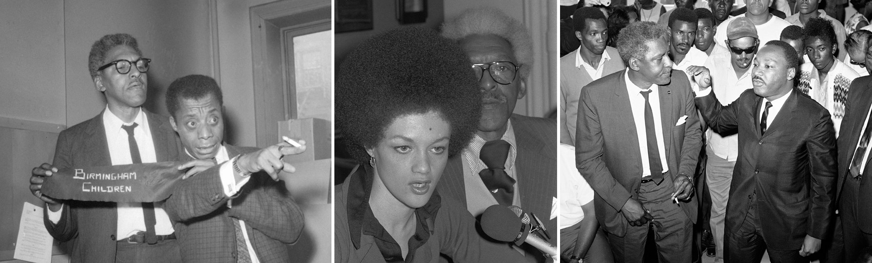 From left to right: Civil rights organizer Bayard Rustin, left, appears with writer James Baldwin, calling on President Kennedy to send troops to integrate Alabama schools in 1963; with former Black Panther Kathleen Cleaver in 1976; and with movement leader Dr. Martin Luther King, Jr. after the 1965 L.A. riots. (AP)