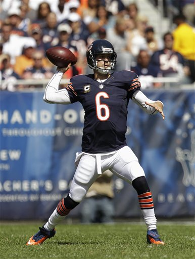 Bears QB Jay Cutler started slow but ended with a monster game.(AP Photo/Sitthixay Ditthavong)