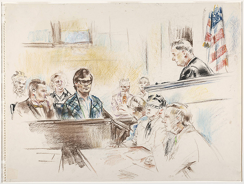 A pastel drawing of court reporters (Flickr/Beinecke Library)