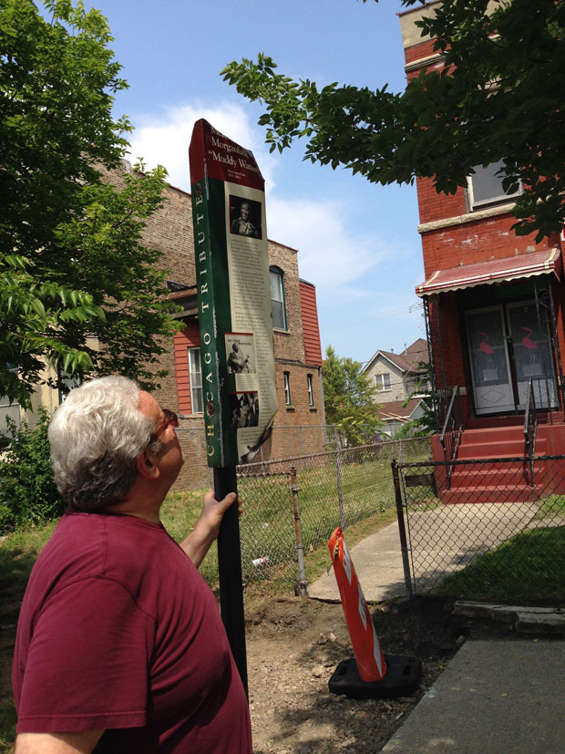Former Chicago Blues Festival Director Barry Dollins stands in front of Muddy Waters' former home (WBEZ/Yolanda Perdomo)