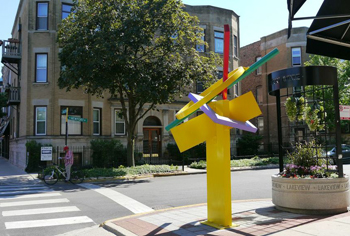 Artist Ray Katz' sculpture Branches was installed on the corner of Newport and Halsted. (WBEZ/ Simran Khosla)