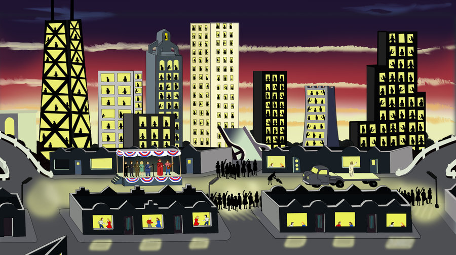 Chicago Imagists painter Roger Brown's depiction of the Chicago skyline, titled 'The Entry of Christ into Chicago in 1976.' (Courtesy Whitney Museum of American Art)