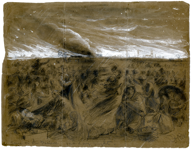 Witnesses recounted avoiding the flames for two days. Image: Scene on the Prairie, Monday night. Alfred R. Waud, Pencil, Chalk, and Paint Drawing, 1871 (Courtesy of the Chicago History Museum)