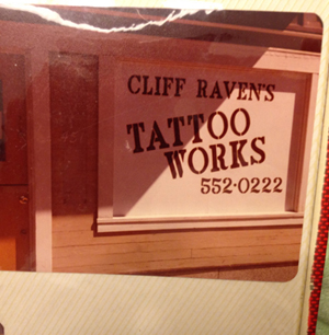 Cliff Raven's tattoo shop before it incorporated in 1973. It was the only shop in Chicago. (Archival photo courtesy Nick Colella)