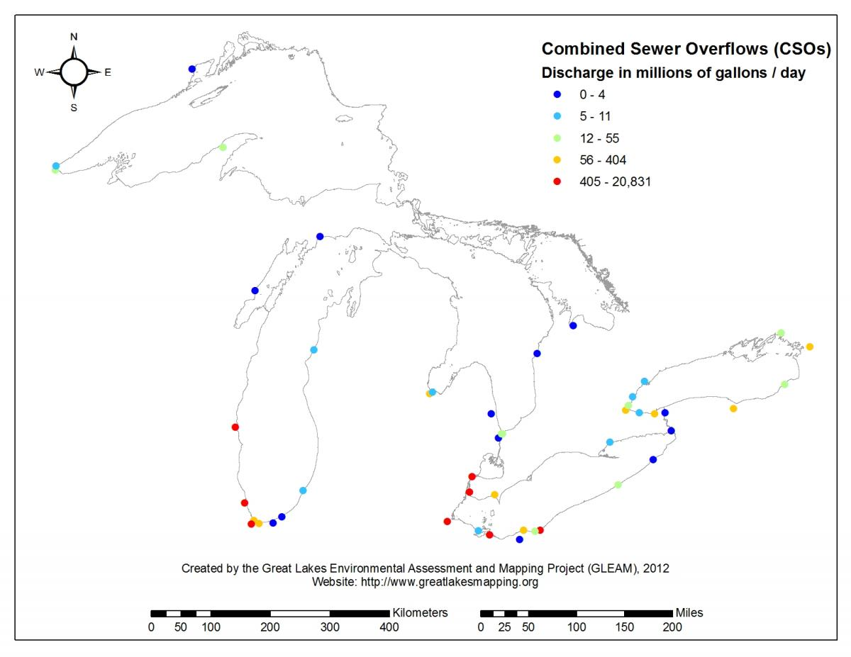 Combined sewer overflows across the Great Lakes. (Great Lakes Environmental Assessment and Mapping Project)
