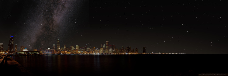 The Chicago sky as it could be without light pollution showing the Milky Way and numerous stars.  (Composite image by Adler photographer, Craig Stillwell, and Adler astronomer, Larry Ciupik, based on images by Craig Stillwell and Wei-Hao Wang)