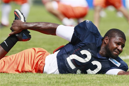 Bears receiver Devin Hester warms up during a training session. (AP/Nam Huh)