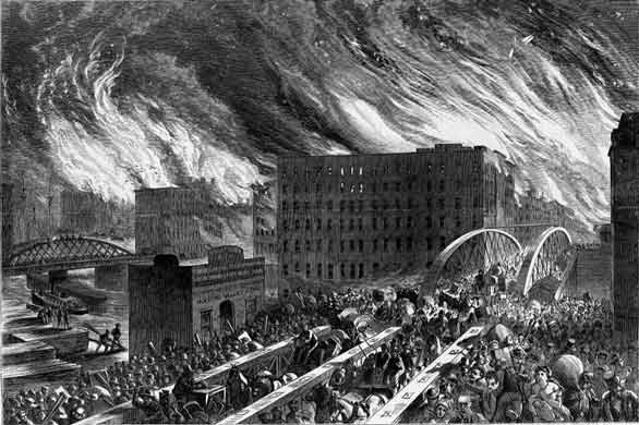 An artist's rendering of the Great Chicago Fire. The digital bootstrappers at tech startup hub 1871 say they're inspired by the risk-taking innovation that followed. (Wikipedia)