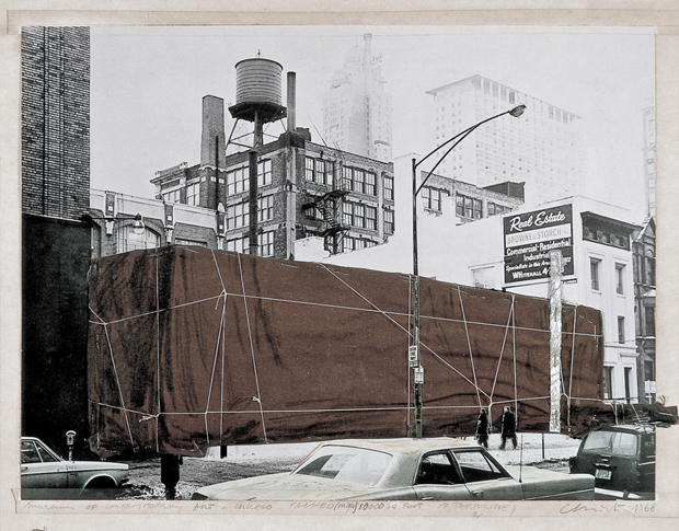A preparatory collage illustrates Christo's vision to wrap the MCA. (Courtesy of Christo)