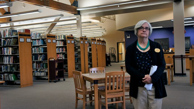 Jane Schoen is the director of the Cicero Public Library. Comparing her funding with libraries in wealthier suburbs like Arlington Heights she says, 'No, it's not fair but it just is.' (WBEZ/Adriana Cardona)