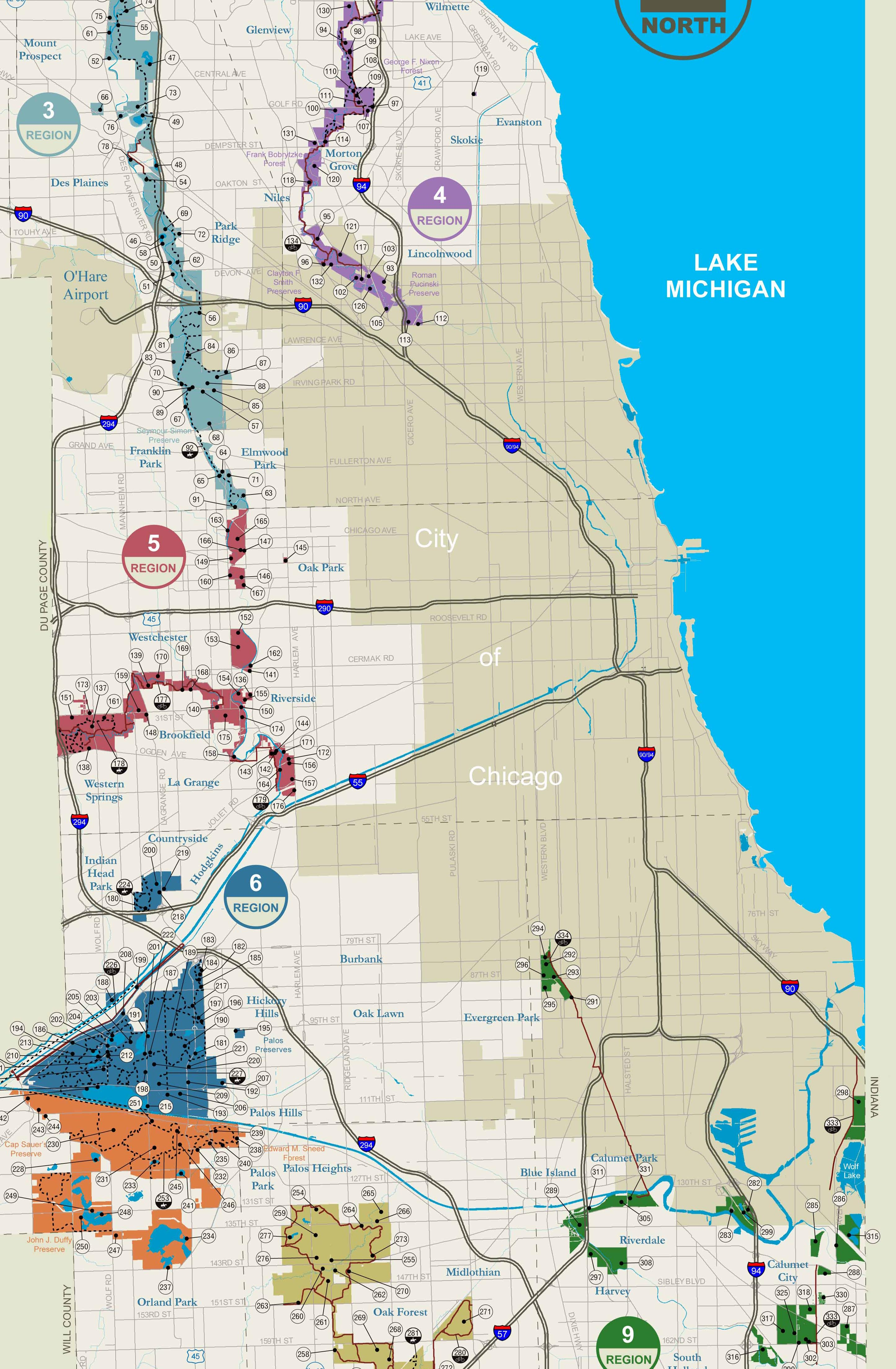 Map of the Forest Preserve properties in and around Chicago. (Courtesy Greg Spyreas)