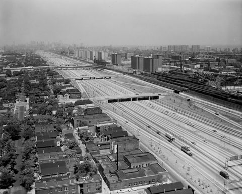 Aerial shot of the newly constructed Dan Ryan Expressway, 1960s, from Chicago Transit Authority. Pretty swanky, huh? When the first section opened in 1961, the Dan Ryan was the widest and busiest highway in the world. (Courtesy of Chicago Transit Authority)