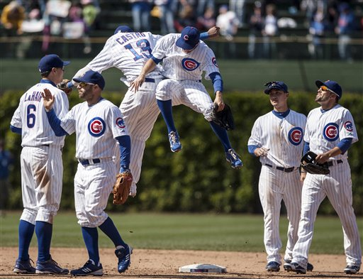 Cubs celebrate after taking 2 of 3 games from Atlanta. (AP)
