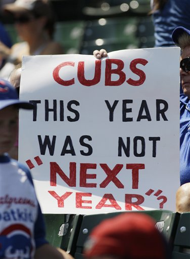 A sign from Cubs fans says it all. (AP Photo/Nam Y. Huh)