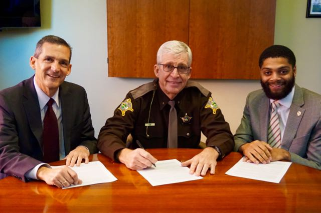 Valparaiso Mayor Jon Costas, Porter County Sheriff David Reynolds and local resident Darryl Jackson, Jr. (Photo courtesy of City of Valparaiso)