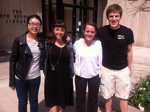 Our University of Chicago team from right to left: Alice Ye, Begum Cital, Samantha Brown, Sam Brandt. (WBEZ/Jennifer Brandel)